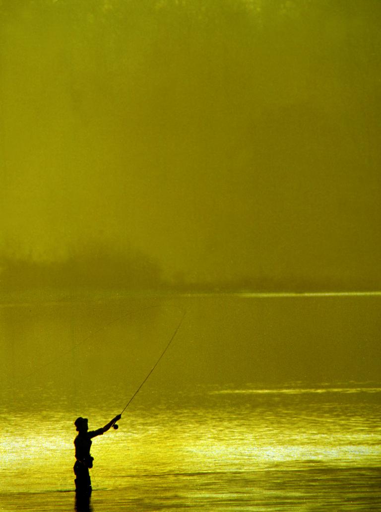 Fly Fisherman - Sunrise at sunset