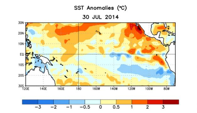 Average sea surface temperature (SST) anomalies (°C) for the week centered on 30 July 2014. Anomalies are computed with respect to the 1981 - 2010 base period weekly means. Photo: NOAA
